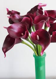purple calla lilies burgundy purple calla bouquet real touch blooms afloral