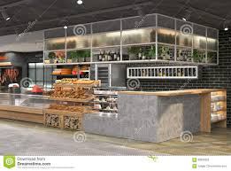 3d visualization of the interior of the grocery store design in