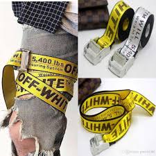 off belt unisex hip hop fashion men women yellow logo