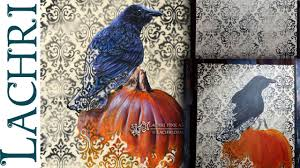 halloween background crow speed painting crow and pumpkin halloween acrylic time lapse