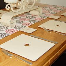 table runner or placemats creative idea dining table decor with cream modern heart wooden