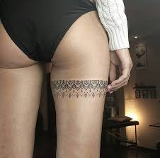 25 beautiful lace thigh tattoos ideas on pinterest blue rose