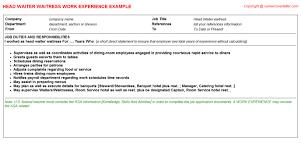 Resume Examples Waitress by Head Waiter Waitress Job Title Docs