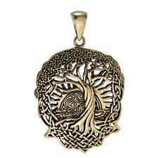 celtic knot tree of pendant with rising sun