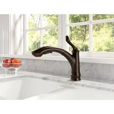 delta faucet linden polished chrome pullout spray kitchen
