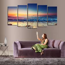 decor painting 5 panels no frame the seaview modern home wall decor painting canvas
