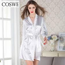 robe de chambre en soie femme coswe femmes satin de soie femmes blanc robe féminine dentelle