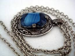vintage blue stone necklace images Vintage signed miracle pendant necklace blue stone sold jpg