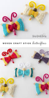 woven craft stick butterflies colorful crafts craft sticks and