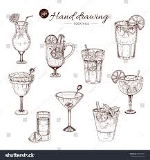 margarita drawing alcoholic cocktails hand drawn monochrome set stock vector