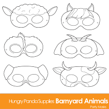 horse mask halloween city barnyard animals printable coloring masks farm animal mask