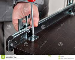 fixing drawers installing track drawer slide rail stock photo