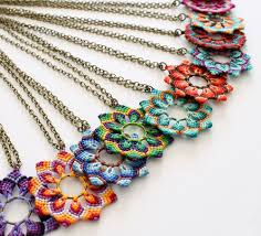 macrame flower bracelet images Macrame flower necklaces to do projects macrame pinterest jpg