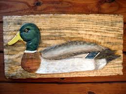 mallard duck 24x12 chainsaw carved relief bird woden decoy