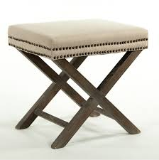 studded ottoman with x legs classic furniture accent pieces and