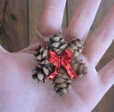 Mini Pine Cone Ornament Wreath With A Red Bow Country Christmas