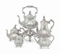 silver matching services ornate sheffield silver plate teapot with matching warming stand