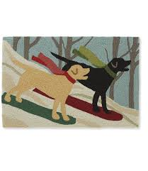 Ll Bean Outdoor Rugs Indoor Outdoor Vacationland Rug Snowboarding Dogs Free Shipping