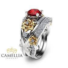 rings ruby images Floral ruby engagement ring set 14k two tone gold rings natural jpg