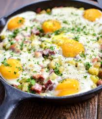 dinner egg recipes corned beef hash baked eggs