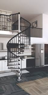 interior gothic black metal spiral staircase that brings