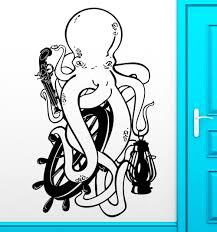 aliexpress com buy funny cute ocean animal art octopus wall aliexpress com buy funny cute ocean animal art octopus wall sticker pistol pirate vinyl wall mural home bedroom decoration pvc wallpaper y 809 from