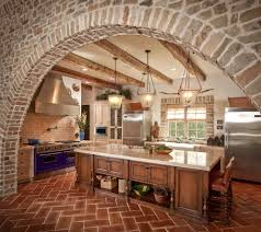 brick arch kitchen mediterranean with double oven beaded inset