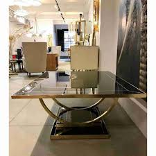 contemporary art deco italian black glass and brass coffee table