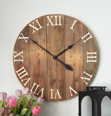 Wooden Wall Clock 25 In Clock Large Wall Clock Rustic Wall Clock Oversized Wall