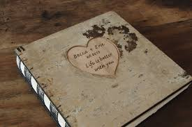 engraved photo albums custom engraved birch wedding photo album or photo guestbook