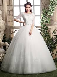 half lace wedding dress delicate scoop neck half sleeves lace floor length gown