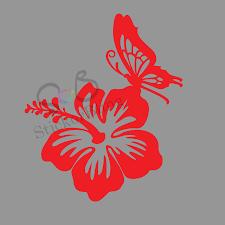hawaiian hibiscus flower butterfly vinyl decal sticker car window