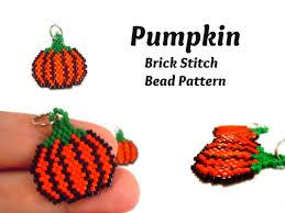 halloween earrings bead pattern brick stitch pumpkin seed bead pumpkin miyuki