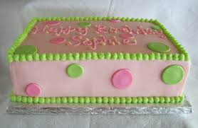 Sheet Cake Decoration Pink U0026 Green Sheet Cakes For 1st And 80th Birthdays