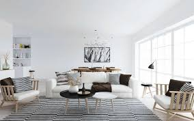 Black And White Modern Rug Living Room Cool Scandinavian Living Room Design With White