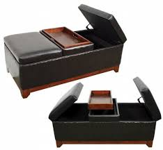 magnificent leather storage ottoman with tray with leather storage
