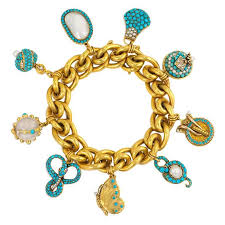 gold bracelet with charms images Antique gold bracelet with assorted turquoise and pearl charms at jpg
