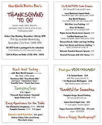 thanksgiving to go new world bistro bar