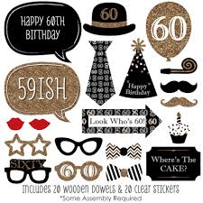 photobooth props 60th birthday gold photo booth props kit 20 count ebay