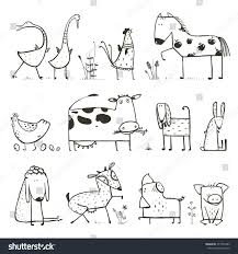 funny cartoon farm domestic animals collection stock vector