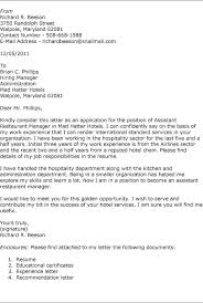 stunning assistant restaurant manager cover letter contemporary
