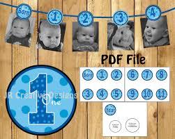 Diy 1st Birthday Centerpiece Ideas 1 Year Picture Banner Boy 12 Month Photo Birthday Banner