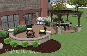 Patio Designs Pavers Concrete Paver Patio Design With Pergola And Seat Wall 495 Sq Ft