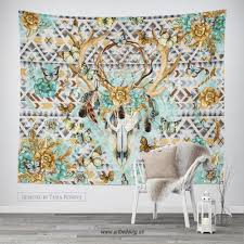 buffalo totem dreamcatcher wall tapestry wartercolor buffalo
