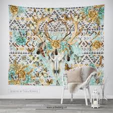 boho totem dreamcatcher wall tapestry wartercolor deer skull wall