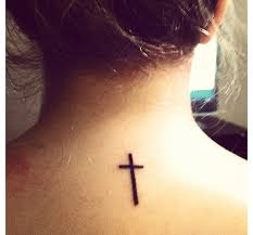 a cross tattoo on back neck in 2017 real photo pictures images