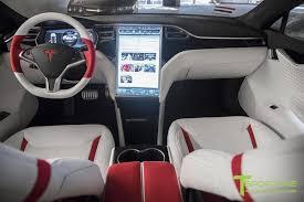 white tesla model s 1 0 custom red and white alcantara interior