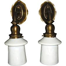 Sconces With Shades Caldwell Cast Brass Sconces With Steuben Calcite Acid Cut Back