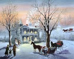winter winter scene snow village house tree horse nature full hd
