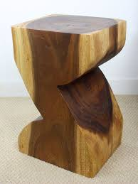 carved wood end table hand carved z shaped acacia wood end table zallzo